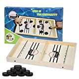 Wooden Hockey Game, Fast Sling Puck Game, Table Desktop Slingshot Games Toy, Foosball Winner Board Game Toys (Large)