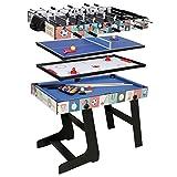 HLC - Mesa multijuegos 4 en 1, mesa de billar, tenis de mesa, hockey y futbolín, con patas plegables