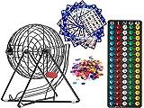 MR CHIPS Juego de bingo profesional con jaula de acero para bingo, bolas de bingo de 7/8 pulgadas, 18 tarjetas de bingo y 300 fichas de bingo, color negro misterioso