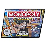Monopoly Speed Board Game, Play in Under 10 Minutes, Fast-Playing Fantasy Board Game for Ages 8 & Up, For 2-4 Players,Multicolor