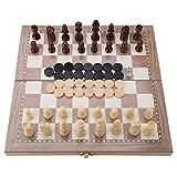 Atyhao Ajedrez Plegable de Madera 3 en 1, Damas de ajedrez Tablero Plegable de backgammo Ajedrez de Madera Juego de Mesa de Damas Juego de Mesa portátil de Viaje Juguete