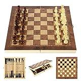 Ghopy 3 en 1 Ajedrez de Madera Damas y Backgammon Plegable Tablero de Ajedrez Juego de Mesa Viaje Fiesta Entretenimiento Folding Chess Portátil Regalo para Niños y Adulto (24 * 24 cm)