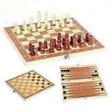 3 en 1 Ajedrez de Madera Plegable 4 Tamaño Tablero de Ajedrez Juegos de Mesa Tablero de Ajedrez Juego de Ajedrez/Damas/Backgammon Set Regalo para Niños y Adultos (39*20*4CM)