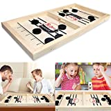 Fast Sling Puck Game, Head-to-Head Wooden Desktop Hockey Table Game for Kids and Adults, Portable Table Desktop Ice Hockey Board Game for Family Party, Birthday Gift and Social Activities (S)