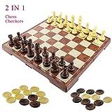 Fixget 2 en 1 juego de ajedrez-12 'x12' Ajedrez de madera y damas conjunto con portátiles plegables de almacenamiento de viaje de ajedrez tablero de juego