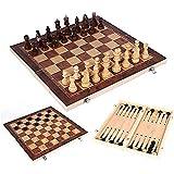 Queta Tablero Ajedrez,Juego de ajedrez de Rompecabezas,3 EN 1 Ajedrez,Damas,Ajedrez Plegable Portátil,Juego ajedrez para niños y Adultos Juegos de Mesa de Ajedrez (29 X 29CM)