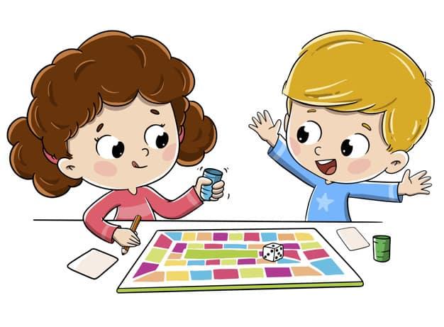 Ilustración de niños de tres años jugando un juego de mesa