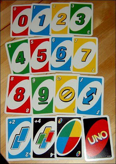 reglas del uno: cartas